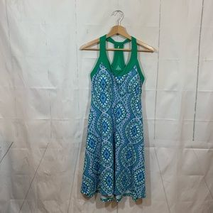 Prana Blue Green Racerback Knit Stretch Dress M